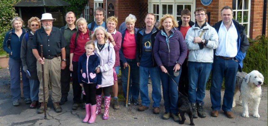 Rogation Day walkers outside the Queens Head. 2014